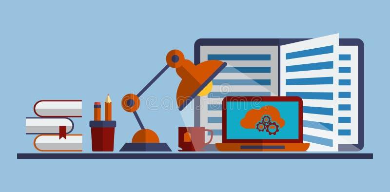 El concepto de proceso programado, la gestión de Seo y el sitio web buscan la optimización ilustración del vector
