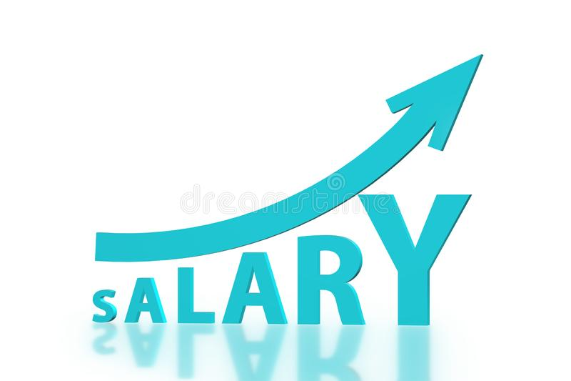 El concepto de sueldo cada vez mayor - representación 3d ilustración del vector