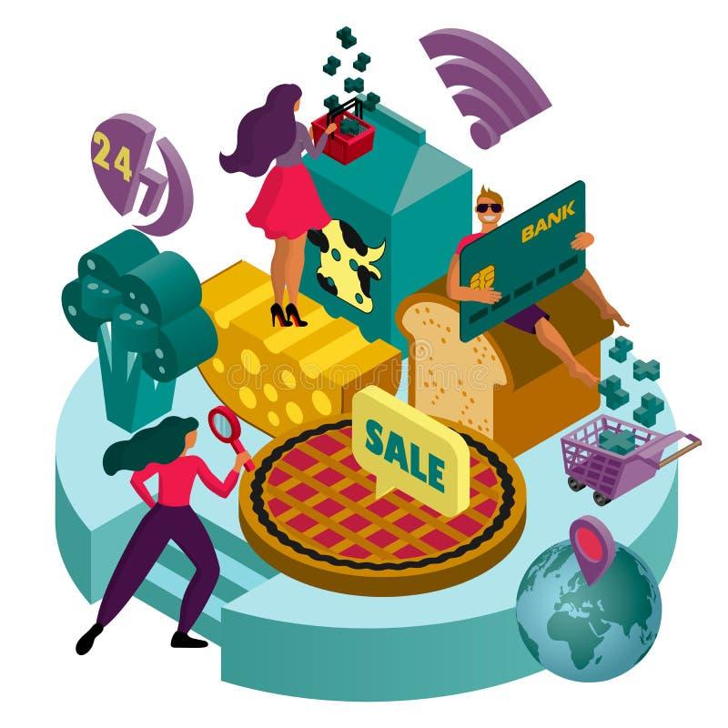 El concepto de supermercado en línea ejemplo isométrico del vector 3D para las páginas web, páginas web, aplicaciones web ilustración del vector