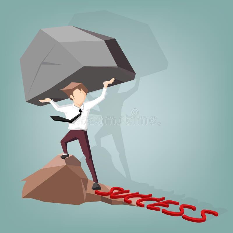 El concepto de tensión de un hombre de negocios que lleva una roca grande a la manera del éxito, Vector concepto del negocio y di ilustración del vector
