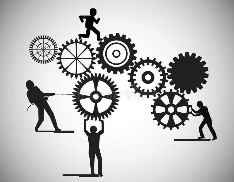 El concepto de trabajo en equipo, ruedas de engranaje constructivas de la gente, ésta también representa la sociedad del negocio, ilustración del vector