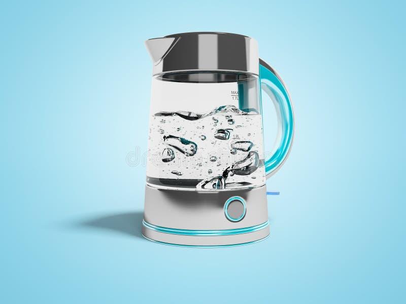El concepto de transferencia en una caldera eléctrica en soporte con el agua hirvienda 3d rinde el ejemplo en fondo azul con la s libre illustration