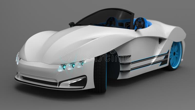 El concepto de un cupé del coche de deportes es un descapotable Adaptación exclusiva y estilizada de coches eléctricos Ilustració imagen de archivo