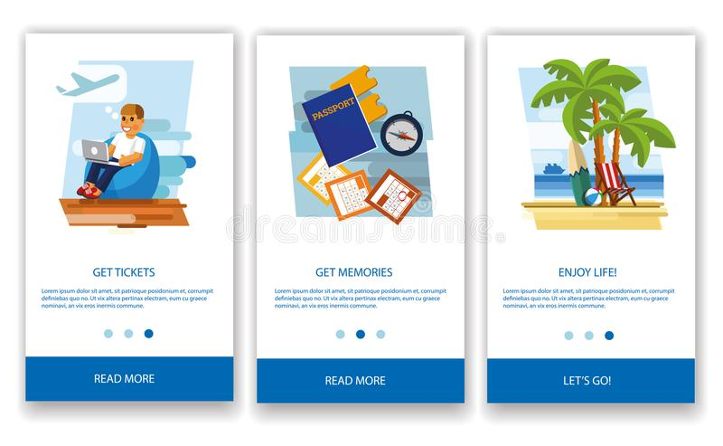 El concepto de una aplicación móvil turística stock de ilustración