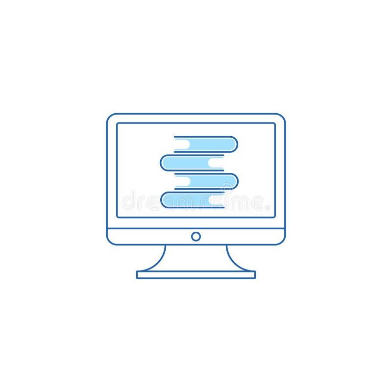 El concepto de una biblioteca en l?nea Ordenador azul y una pila de libros en un fondo aislado blanco ilustración del vector