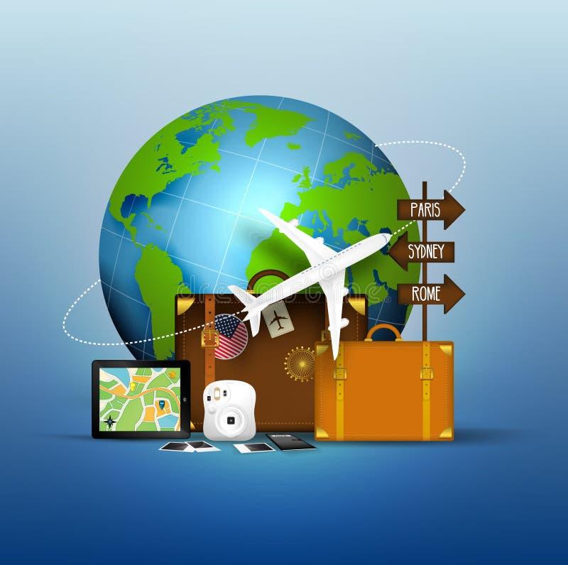 El concepto de viaje del mundo famoso ilustración del vector