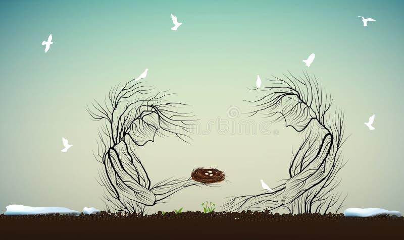 El concepto del árbol del carácter de la primavera, jerarquía que se sostiene de la silueta una de dos árboles con los huevos otr stock de ilustración
