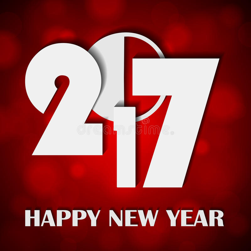 El concepto 2017 del Año Nuevo en luces rojas brillantes brillantes empañó el fondo stock de ilustración