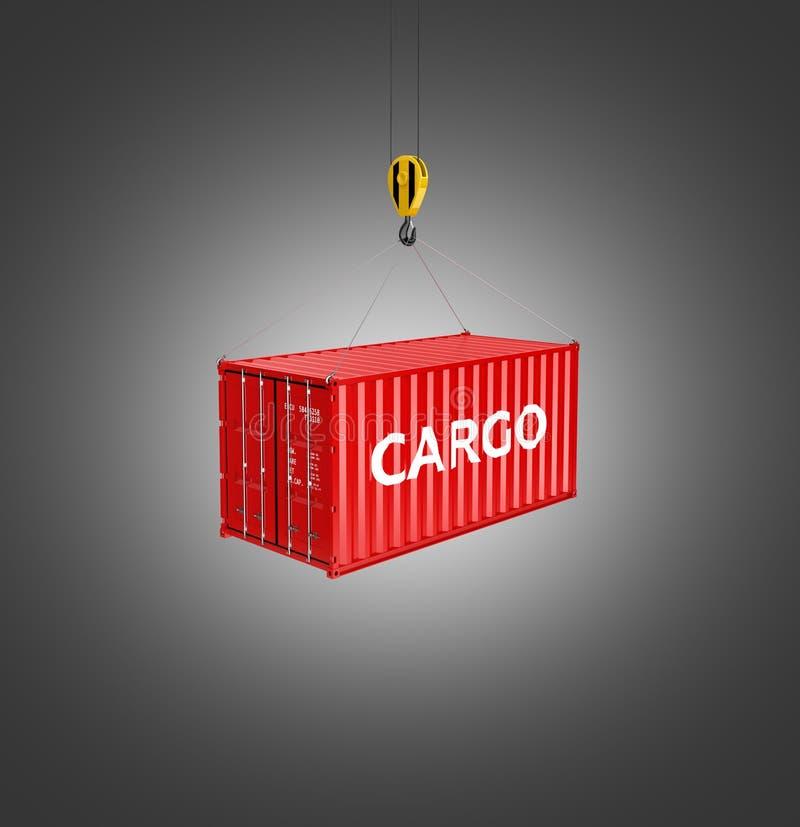 El concepto del cargamento del contenedor de cargo la grúa levanta el envase en el fondo negro 3d de la pendiente ilustración del vector