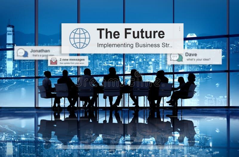 El concepto del desarrollo de la innovación de Vision de la estrategia del plan futuro imagen de archivo