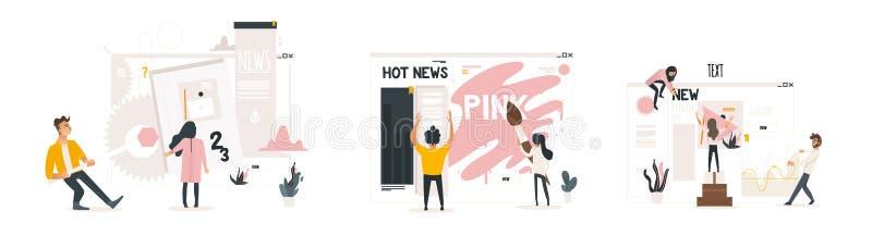 El concepto del desarrollo web fijó con sitio web constructivo de la gente, pintándolo y llenando del contenido, haciendo ajustes stock de ilustración