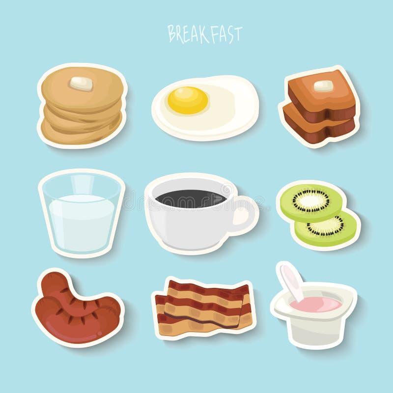 El concepto del desayuno con la comida fresca y los iconos planos de las bebidas fijó el ejemplo del vector ilustración del vector