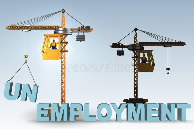 El concepto del desempleo con las letras de elevación de la grúa imagen de archivo libre de regalías