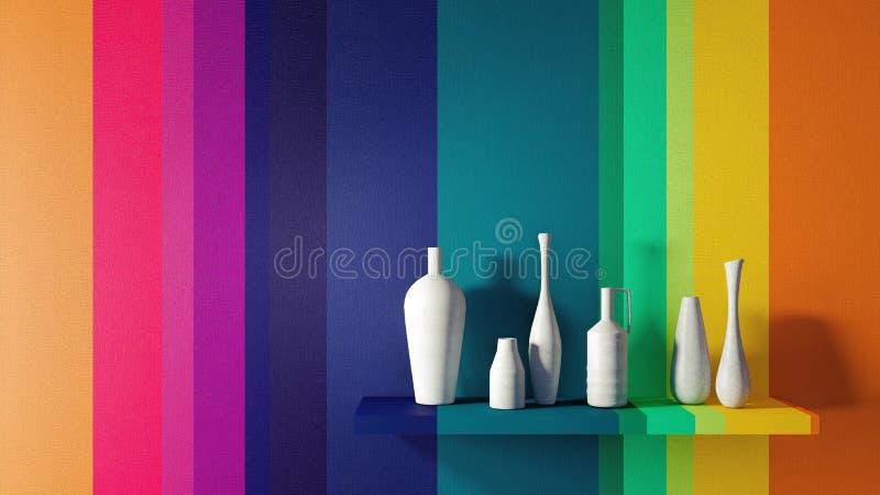 El concepto del diseño interior casero moderno 3D rinde stock de ilustración