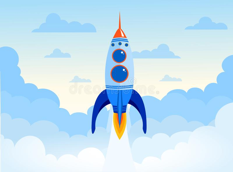 El concepto del ejemplo del vector de negocio empieza para arriba del cohete de espacio Nave de Rocket en el cielo con las nubes  libre illustration