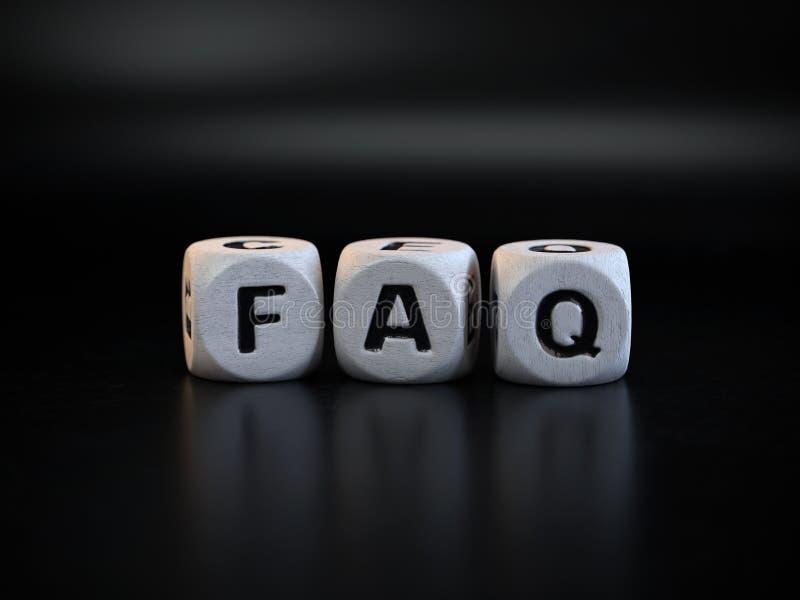 El concepto del FAQ, hizo con frecuencia preguntas imagen de archivo libre de regalías