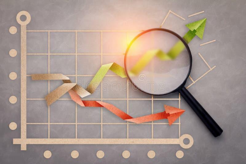 El concepto del gráfico de negocio del éxito con el papel cortó estilo y el magifyin imagenes de archivo