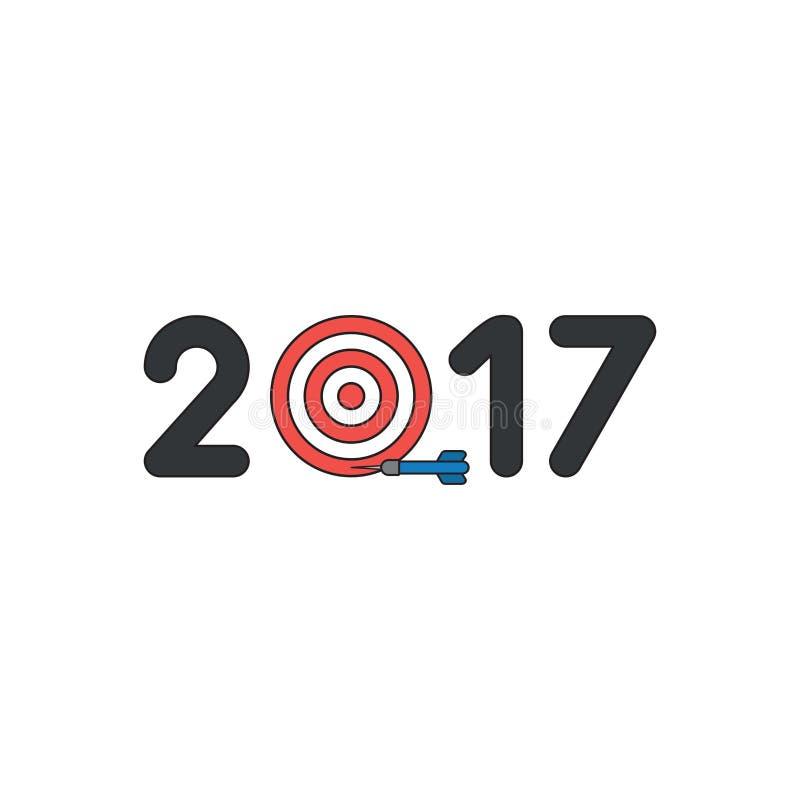 El concepto del icono del vector del año 2017 con el ojo de toros y el dardo faltan la blanco Esquemas negros y coloreado ilustración del vector