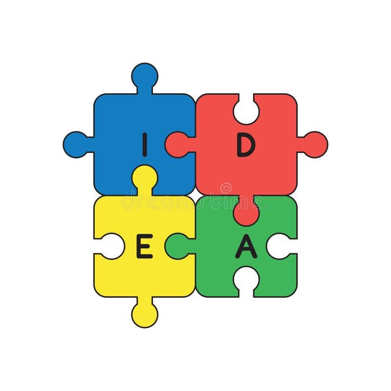 El concepto del icono del vector de cuatro pedazos del rompecabezas de la idea conect? libre illustration
