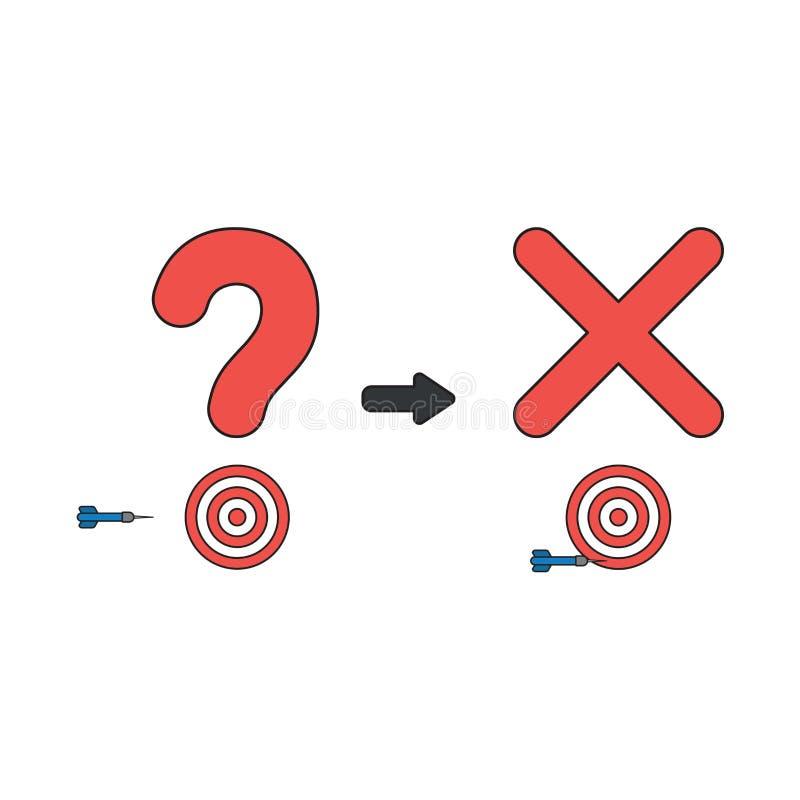 El concepto del icono del vector de signo de interrogación y la marca de x con el ojo de toros y el dardo faltan la blanco ilustración del vector