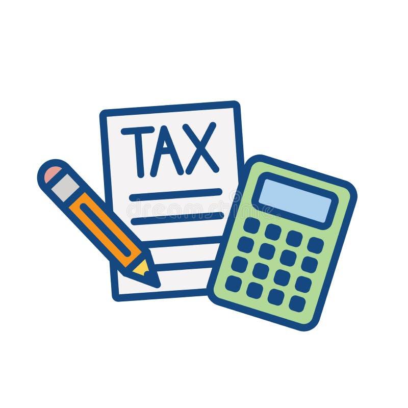 El concepto del impuesto con porcentaje la idea pag?, del icono y de la renta Ejemplo plano del esquema del vector stock de ilustración