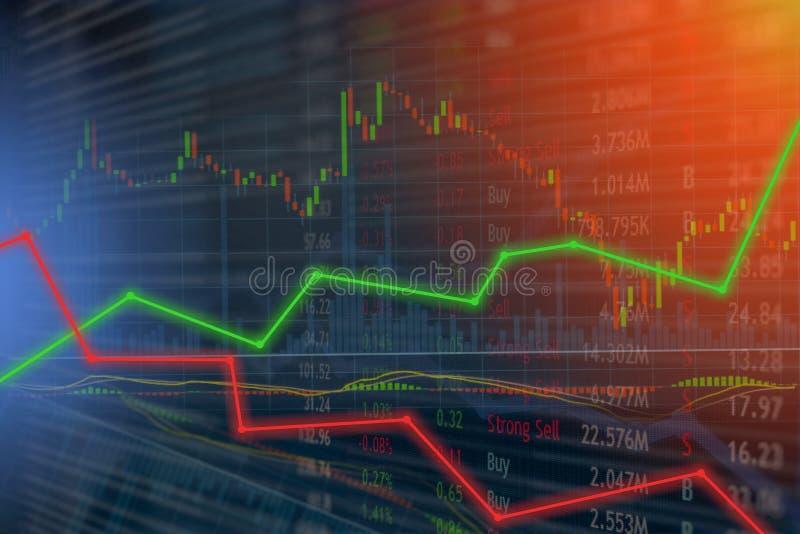 El concepto del mercado de la inversión y de acción gana y los beneficios con c descolorada fotografía de archivo