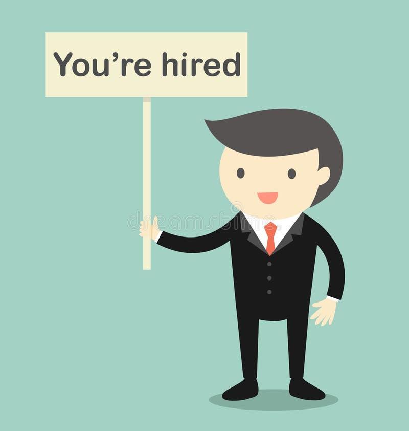 El concepto del negocio, Boss que le detiene es bandera empleada stock de ilustración