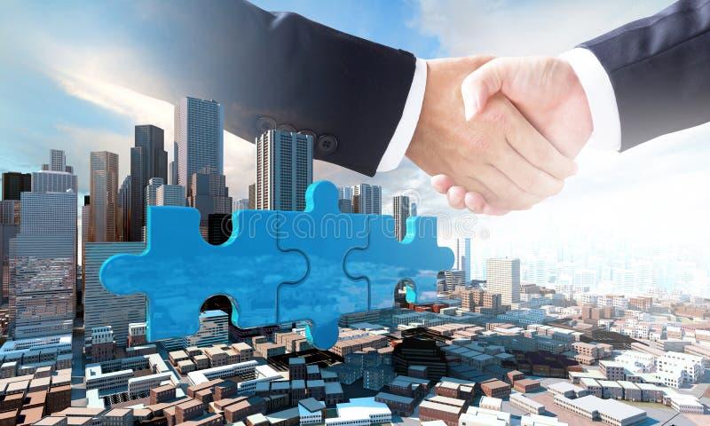 El concepto del negocio de la fusión y de la adquisición, se une a pedazos del rompecabezas fotos de archivo