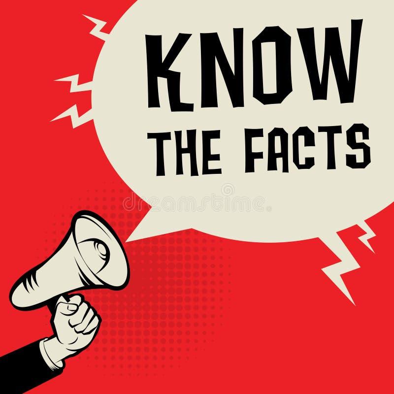 El concepto del negocio de la mano del megáfono con el texto conoce los hechos libre illustration