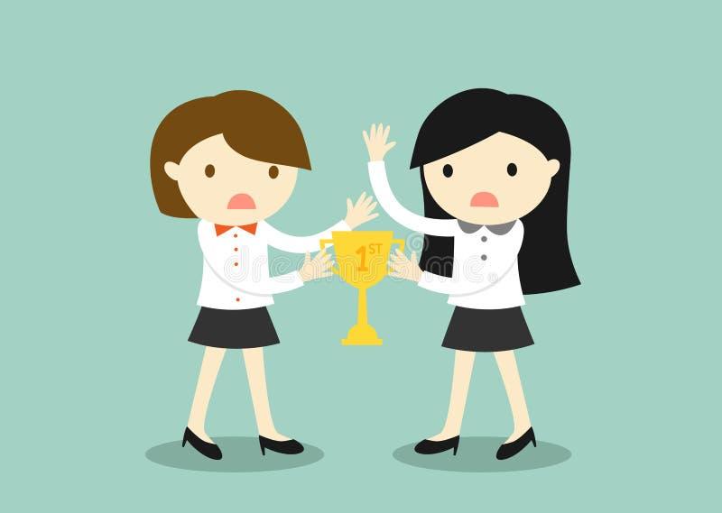 El concepto del negocio, dos mujeres de negocios es lucha para un trofeo ilustración del vector