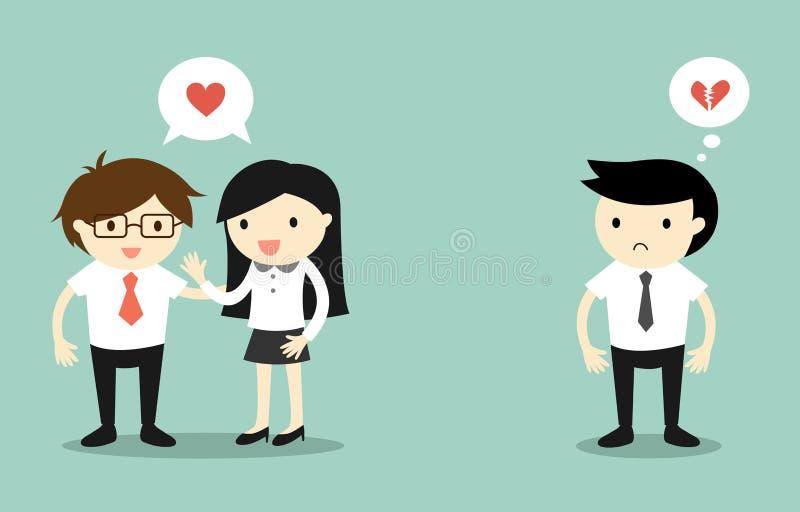 El concepto del negocio, el hombre de negocios y la sensación de la mujer de negocios se aman, pero otro hombre de negocios es co libre illustration