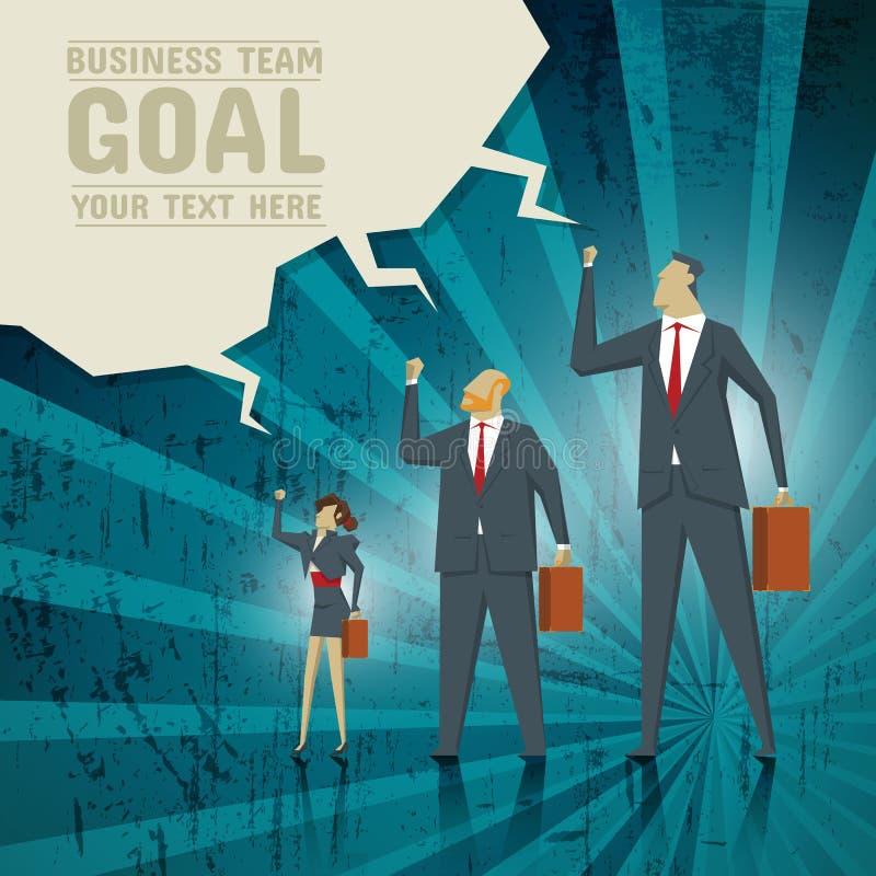 El concepto del negocio, equipo se esfuerza alcanzar metas de negocio stock de ilustración