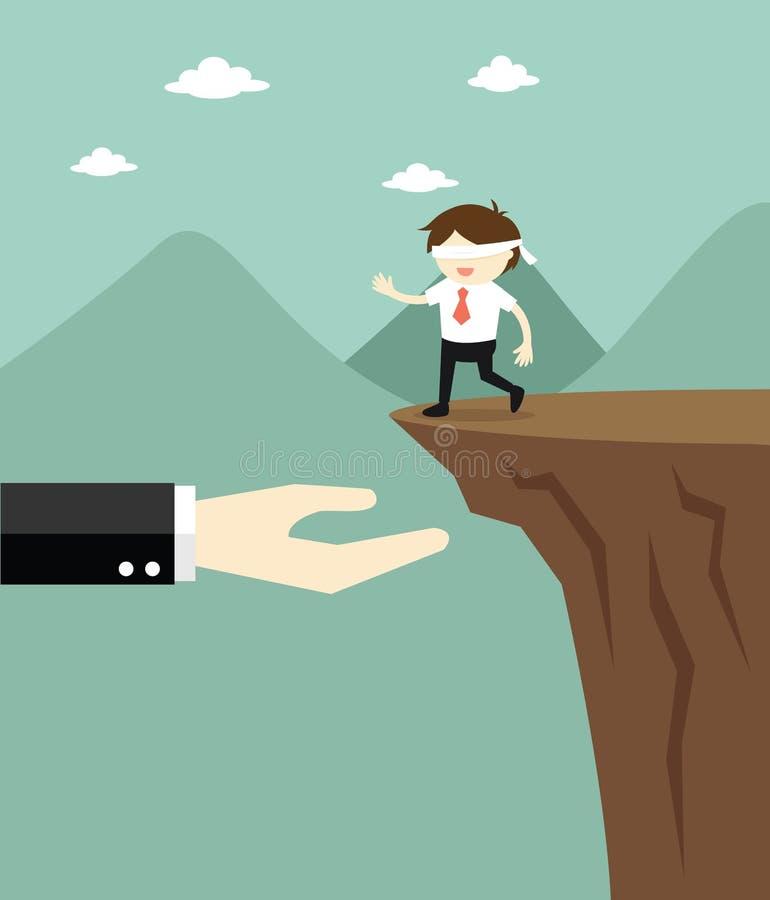 El concepto del negocio, hombre de negocios con los ojos vendados está caminando al acantilado pero a las ofertas de la mano gran libre illustration