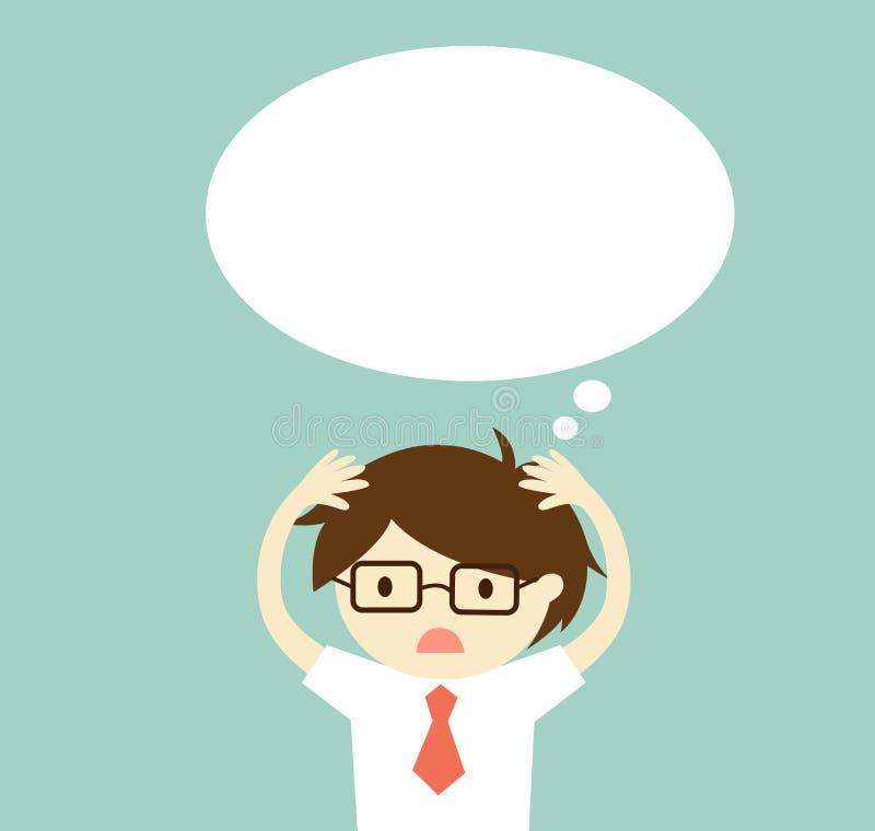 El concepto del negocio, hombre de negocios está pensando algo ilustración del vector