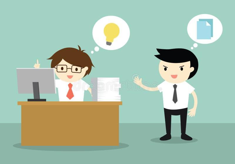 El concepto del negocio, hombre de negocios tiene una idea pero su colega querer copiar su idea libre illustration