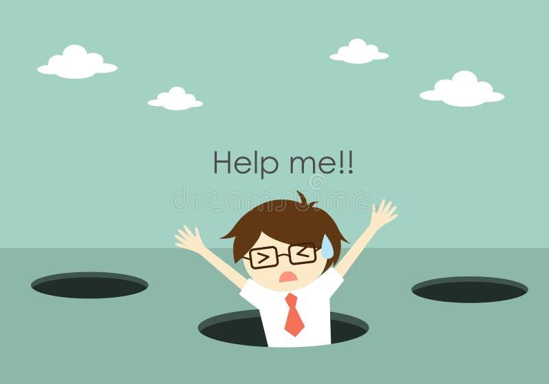 El concepto del negocio, la caída del hombre de negocios en el agujero y la necesidad ayudan ilustración del vector
