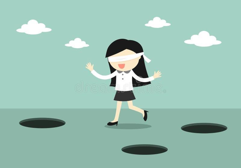 El concepto del negocio, mujer de negocios con los ojos vendados está caminando stock de ilustración