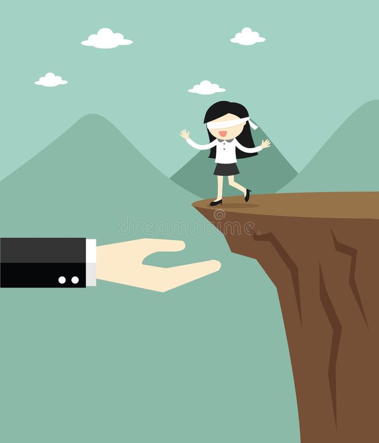 El concepto del negocio, mujer de negocios con los ojos vendados está caminando al acantilado pero a las ofertas de la mano grand stock de ilustración