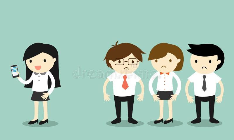 El concepto del negocio, mujer de negocios está utilizando smartphone pero sus compañeros de trabajo sienten torpes ilustración del vector