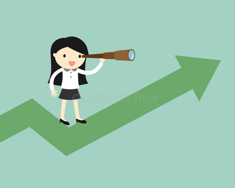 El concepto del negocio, mujer de negocios está utilizando su telescopio mientras que se coloca en la carta ascendente stock de ilustración