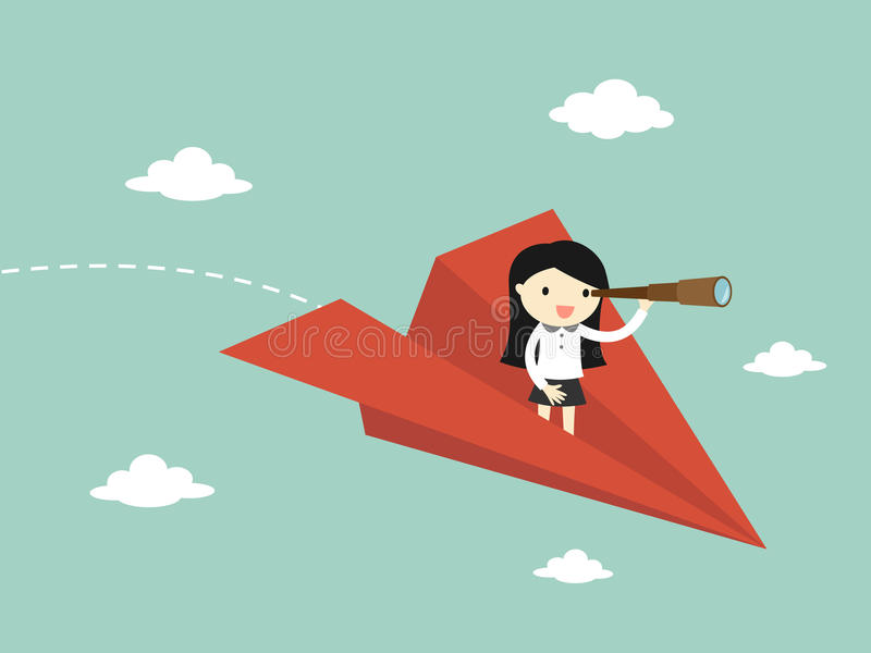 El concepto del negocio, mujer de negocios está volando mientras que usa el telescopio stock de ilustración