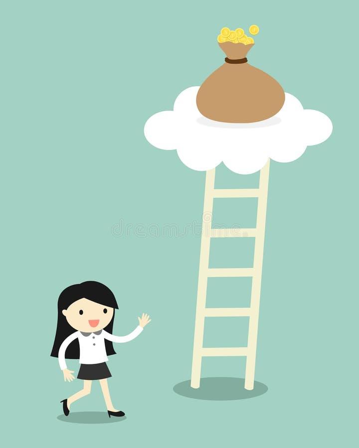 El concepto del negocio, mujer de negocios que va a subir la escalera para consigue un bolso del dinero Ilustración del vector libre illustration