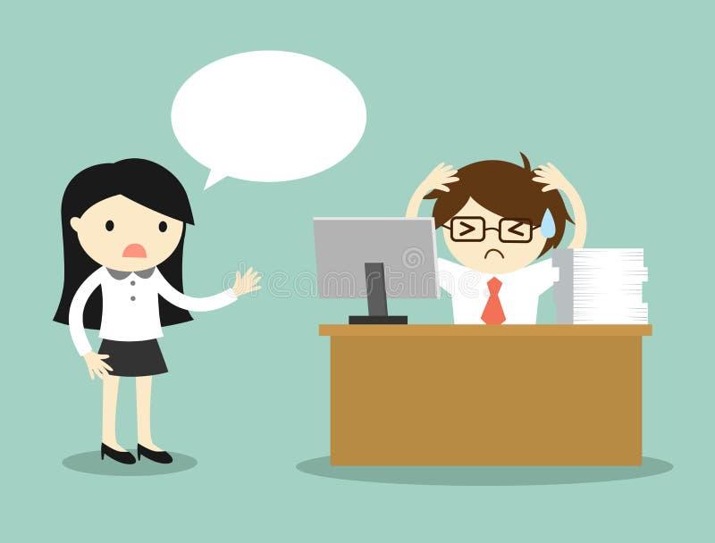 El concepto del negocio, mujer de negocios se queja por el trabajo del hombre de negocios libre illustration