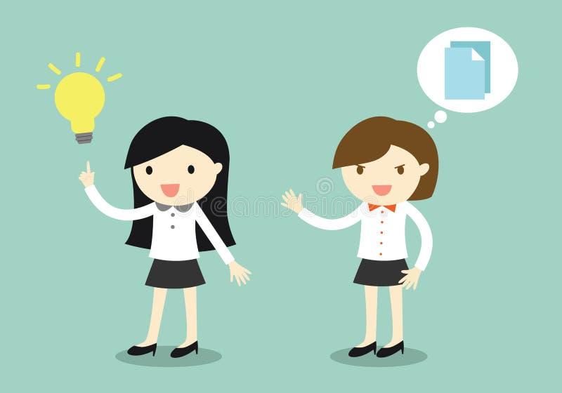 El concepto del negocio, mujer de negocios tiene una idea pero su colega querer copiar su idea libre illustration