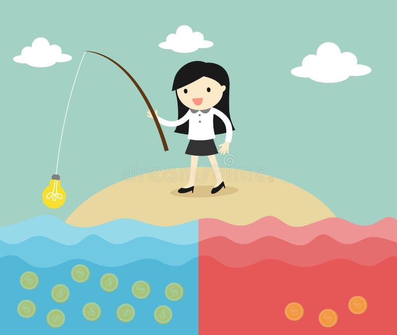 El concepto del negocio, pesca de la mujer de negocios acuña usando idea Ilustración del vector stock de ilustración
