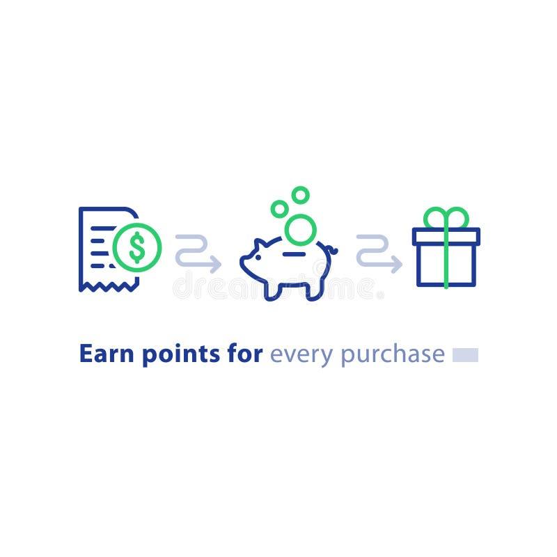El concepto del programa de la lealtad, gana los puntos, regalo del triunfo, incentivo que hace compras, línea iconos stock de ilustración