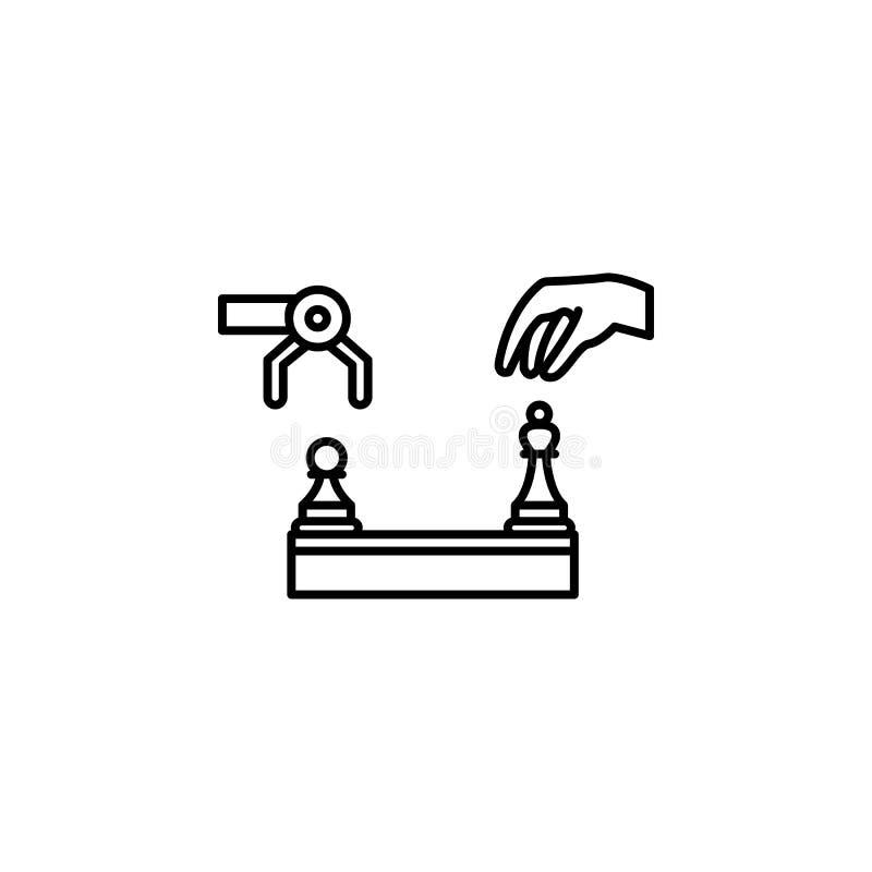 el concepto del ser humano y del robot del ajedrez de la inteligencia artificial alinea el icono Ejemplo simple del elemento Outl ilustración del vector