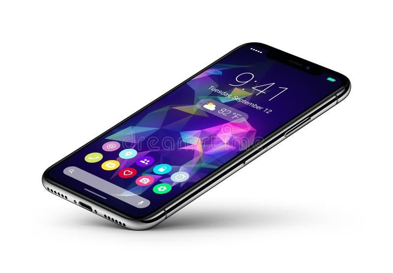 El concepto del smartphone del veiw de la perspectiva con el interfaz plano del diseño material UI se basa sobre una esquina stock de ilustración