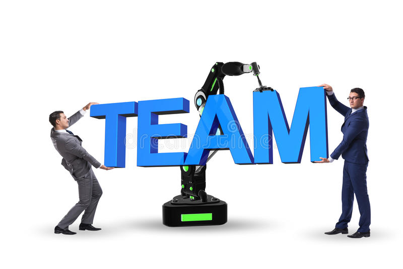 El concepto del trabajo en equipo con el hombre de negocios y el brazo robótico imagenes de archivo