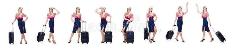 El concepto del turismo que viaja aislado en blanco foto de archivo libre de regalías